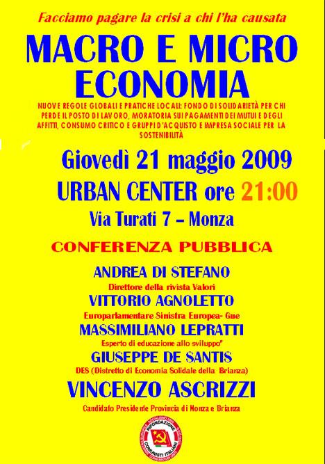 Monza 21 maggio - macro micro economia