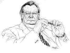 Carlo Rubbia in un disegno di Riccardo Mannelli