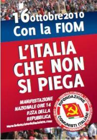 16 ottobre con la FIOM - L'Italia che non si piega