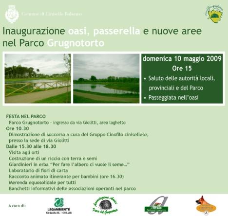 Programma inaugurazione oasi a Cinisello