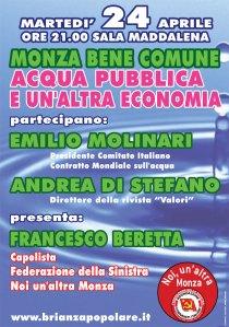 Monza bene comune: Acqua pubblica e un' altra economia